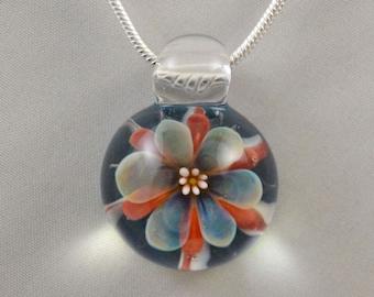 Boro Glass Flower Pendant - Hand Blown Lampwork Jewelry - Glass Necklace