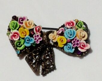 Vintage Floral Ribbon and Rhinestone Pin