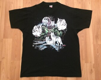 XL 1991 wolf wolves mountains men's vintage T shirt black white blue green 1990's Fruit of the Loom 90's Rag Tops