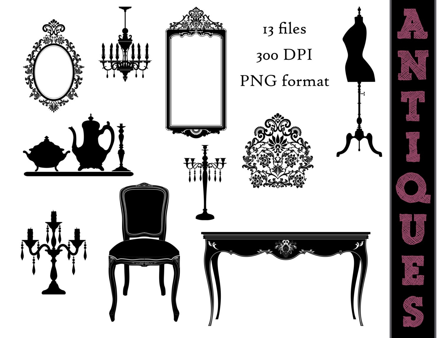 Antique Furniture Silhouettes Victorian Clip Art