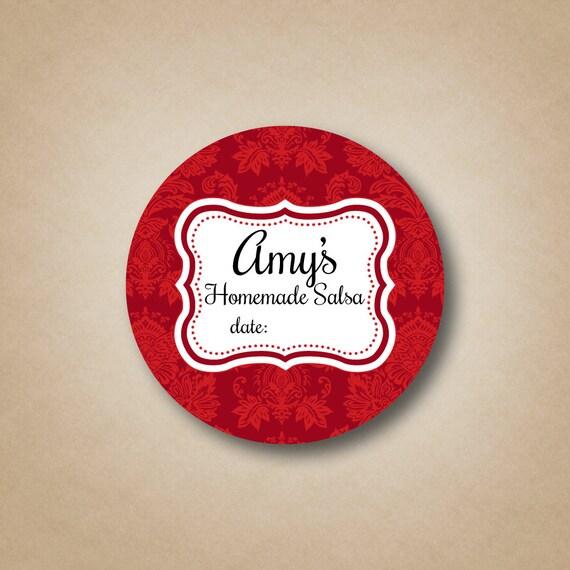 Red Homemade Salsa Mason Jar Labels Custom Canning Labels