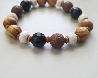 Wood and Stone Bracelet
