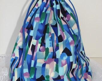 Yarn Project Bag - Blues, Green & Purple Squared Bottom