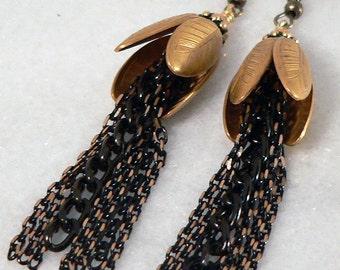 Gold Brass Tulip Earrings, Black Chain Earrings, Vintage Floral Style, Statement Earrings, Chandelier Earrings, Dangle & Drop Earrings
