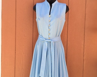 1970s Blue and White Pleated belted  Gingham Dress