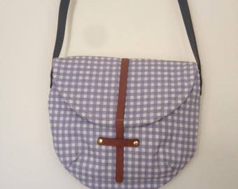 Purple Plaid Fabric Cross Body Bag Handmade