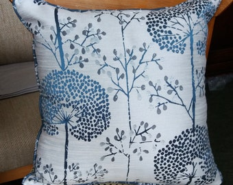 "Blue Dandelions on Grey Cushion Cover. 16 or 12 Inch Square. ""Seedheads"", Floral Cushion, Home Decor, Modern Living, Modern Cushions"