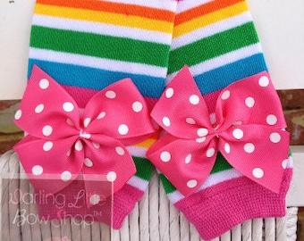 Baby Girl Leg Warmers -- Bow Leg Warmers -- Striped Leg Warmers -- Sunshiney Day