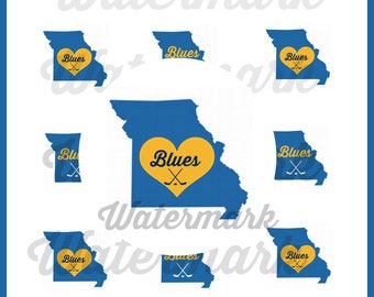 St. Louis Blues inspired Bottle Cap Round 25mm (1 inch) Image / St Louis Blues / Blues Hockey / St Louis / Instant Download!
