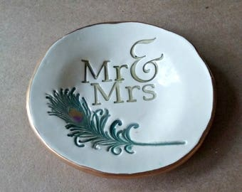 Ceramic Ring Dish Mr and Mrs peacock feather OFF WHITE edged in gold wedding shower gift bridal shower gift