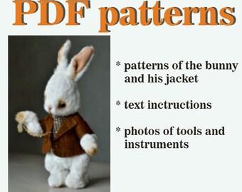 PDF sewing pattern teddy bear pattern bunny rabbit pattern download pattern rabbit toy tutorial stuffed bunny pattern toy sewing pattern