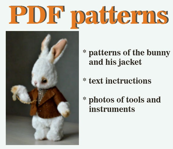 PDF sewing pattern teddy bear pattern bunny rabbit pattern download ...