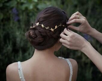 Brindilles de couronne de feuilles, nuptiale Accessoires cheveux, bandeau de mariée, diadème de feuilles d'or, bandeau de feuille d'or fin, Boho Chic Tiara, bande de délicates