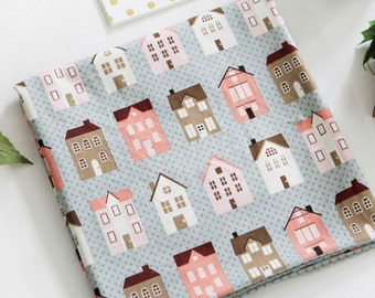 Cotton Fabric House Mint By The Yard
