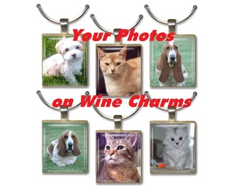 Custom from YOUR Photos Scrabble Tile Wine Drink Markers Charms
