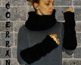 Set of Snood and sleeves 'Black winter...'