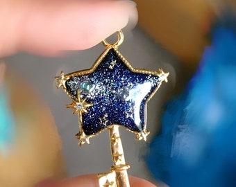 Galactic star - glow in the dark UV resin pendant