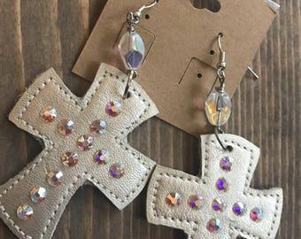 Leather jewelry, cross earrings, southwestern earrings, western glam, boho, bohemian jewelry