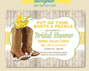 Cowgirl Boots Bridal Shower Invitation, Country / Western Printable Invite - woodgrain with spring daffodil or you choose flower!