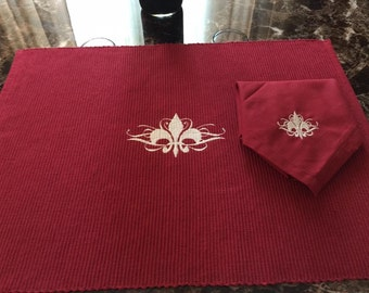 Custom Embroidered Fleur de Lis Placemat and matching Napkin