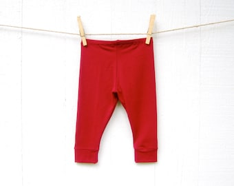 Organic Baby Leggings - Baby Pants - Ruby Red - Organic Cotton - Eco Friendly Baby Tights