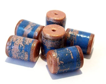 NOW ON SALE Blue and Copper Wood Grain Barrel Beads -  Paper and Polymer Clay