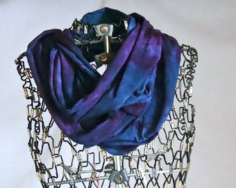 Infinity Scarf-Cotton Jersey Scarf-Marble Abstract Scarf-Indigo Blue and Plum OR Pick your two colors