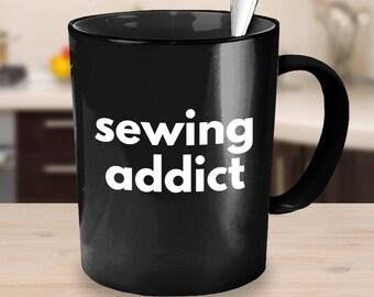 Black Crafty Coffee Mug Sewing Addict sewing gift idea coworker gift black coffee mug gifts for her gifts under 25 sewing mug Sewing Gift