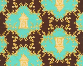 72050 Free Spirit Tina Givens Opal Owl  Trellis in Chocolate color- 1/2 yard