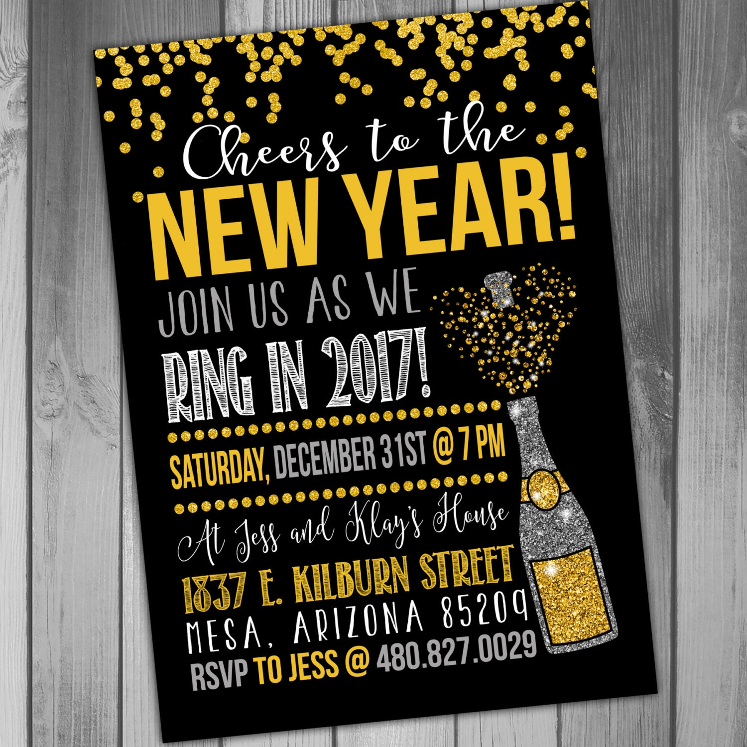 New Years Eve Invitation New Years Party New Years Invitation