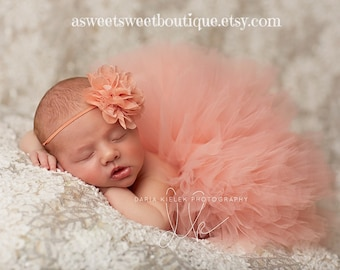 Newborn Peach Tutu Baby Peach Tutu Peach Tutu Newborn Tutu And Headband Baby Girl Tutu Baby Girl Coming Home Outfit Newborn Photo Prop