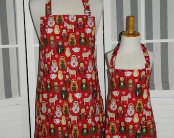 Nativity Nesting Doll Print Mommy and Me matching Apron Set for Adult & Child