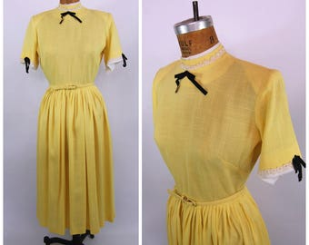 Early 1950s Yellow and black Dress // 27 Waist //  Dramatic Silhouette High Neck  Strong Shoulders Late 40s - 50s Tea Length New Look