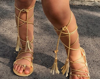 Girls Gladiators Sandals made from gold genuine leather, lace up sandals , Mary Janes baby girl sandals, hard sole sandals