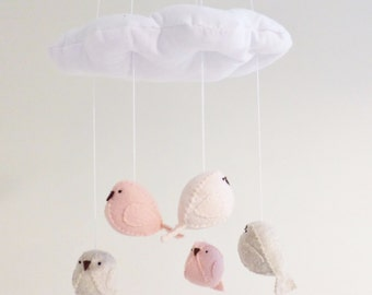 Baby mobile - nursery decoration in pink peach and light beige - bird mobile - cloud mobile