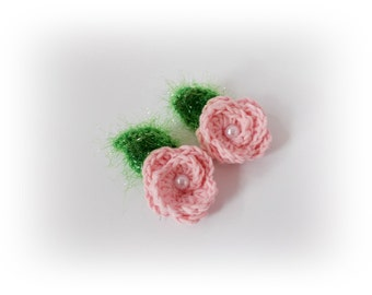 Crochet flowers rose flower mini crochet flowers Crochet appliques flower Crochet rose appliques Decoration knit flower craft supplies