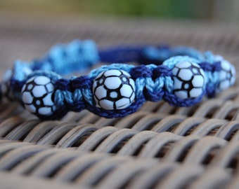 Navy Blue and Light Blue Soccer bracelet - More cord colors and sports theme options available