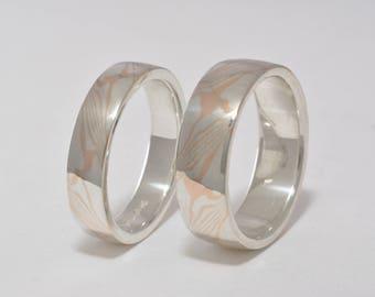 Rose Gold Mokume Ring, Mokume Gane Ring, Mixed metals, Custom Wedding Band, Mokume Gane Ring