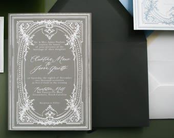 Antique Border Vintage Wedding Invitation Suite