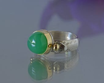 Chrysoprase Ring in 18K Gold and Silver - Apple Green Cocktail Ring in Gold, High Domed Bright Green Cabochon Ring, Made to Order