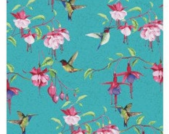 Clothworks Fabrics - Fuschias and Hummingbirds by Barb Tourtillotte - Y2354-104 - Floral