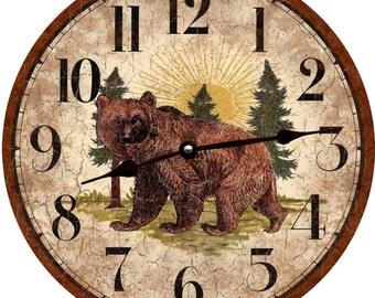 Rustic Bear Clock