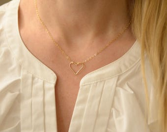 Necklace, Heart Necklace, Yellow Gold Filled Open Heart, Gift for Her, Bridesmaid, Gifts Wedding Jewelry,