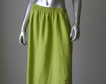 Long Linen Skirt | Oversized Skirt | Maxi Skirt | Green Skirt | Lime Green | Skirt with Pockets | Minimalist Linen |