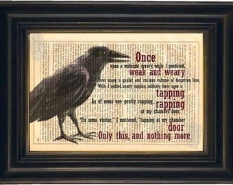 Edgar Allan Poe the Raven Print on upcycled Vintage Page mixed media  digital