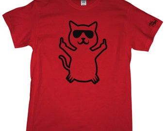 Cat Flipping the Middle Finger T Shirt. Available in Gray, Red, Navy Blue, and Black. Cat with sunglasses. The Bird. Funny. Tee. Graphic T.