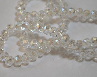 25 pcs 6x4mm Transparent Crystal Clear Luster High Shine Rondelle Glass Beads CL