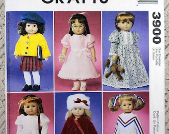 """McCall's 3900, Doll Clothes Sewing Pattern, 18"""" Doll Wardrobe Pattern, Doll Clothes Pattern, Uncut"""