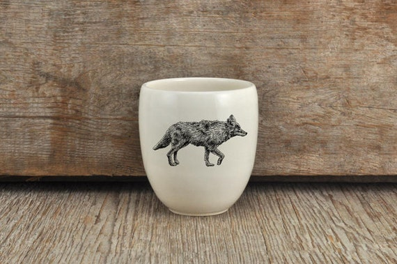 Handmade Porcelain coffee tumbler with coyote drawing Canadian Wildlife collection