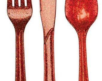Gold  Silver OR Red Sparkle Utensils-set of 24